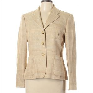 Ralph Lauren Beige 100% Silk Woven Blazer